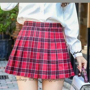 Dresses & Skirts - Red Blue Tartan Plaid Pleated Skirt